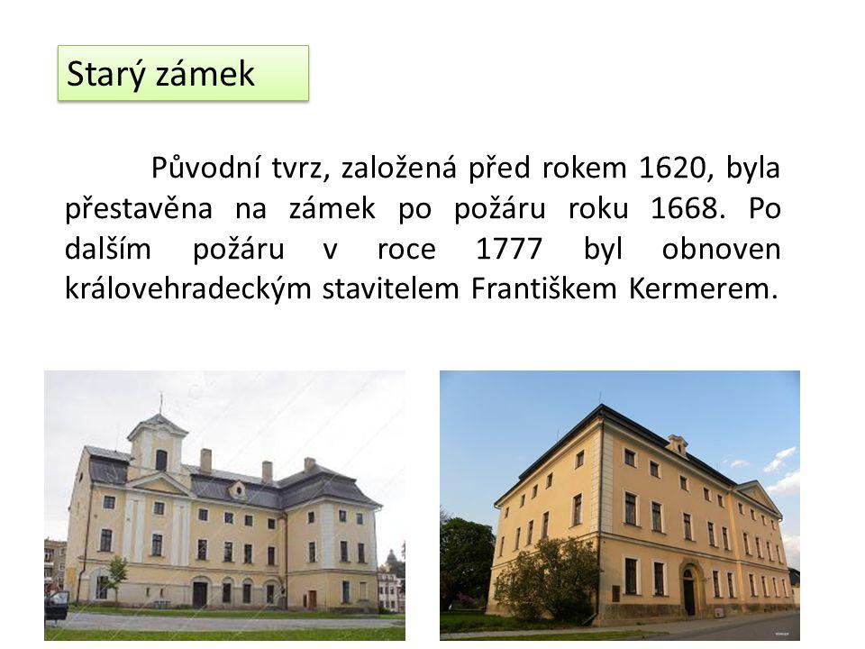 Starý zámek Původní tvrz, založená před rokem 1620, byla přestavěna na zámek po požáru roku 1668.