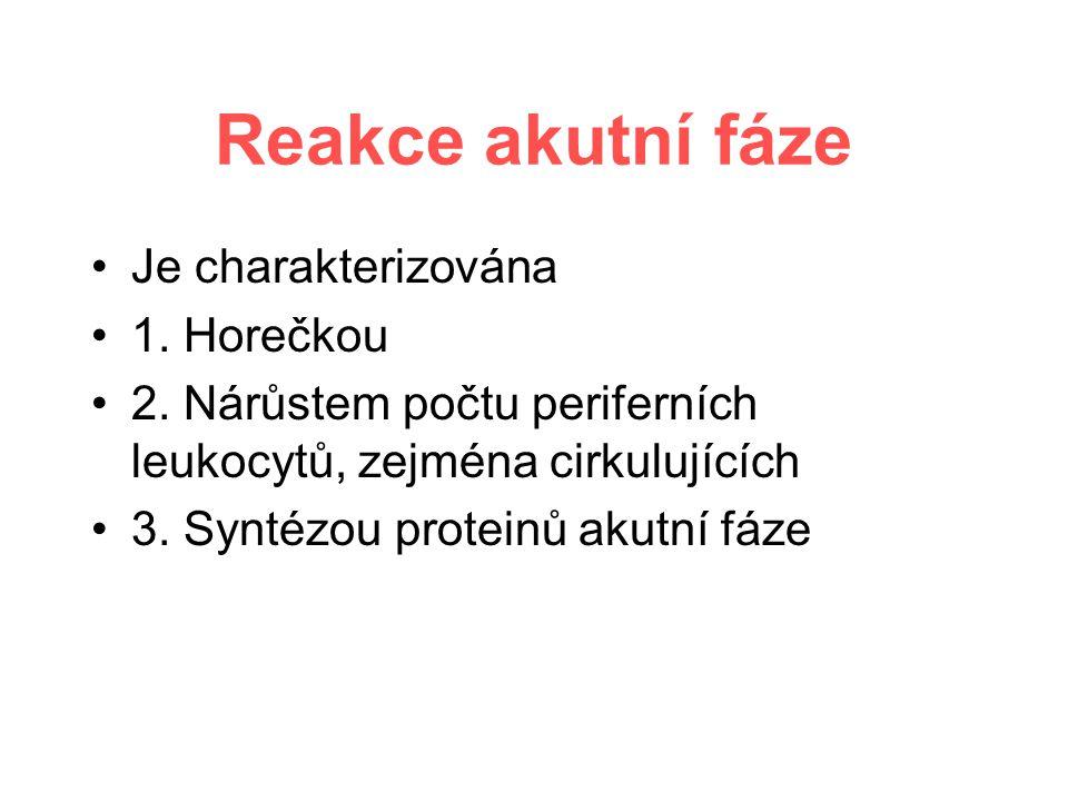 Reakce akutní fáze Je charakterizována 1. Horečkou 2.
