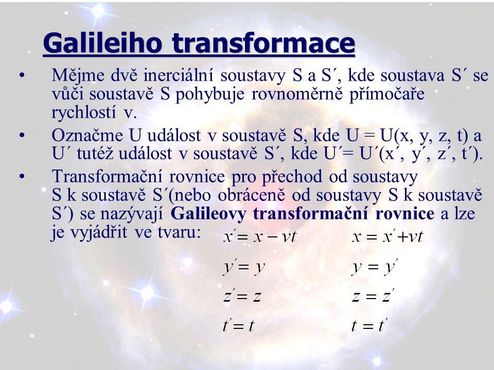 Galileiho transformace Galileiho transformace Mějme dvě inerciální soustavy S a S´, kde soustava S´ se vůči soustavě S pohybuje rovnoměrně přímočaře rychlostí v.