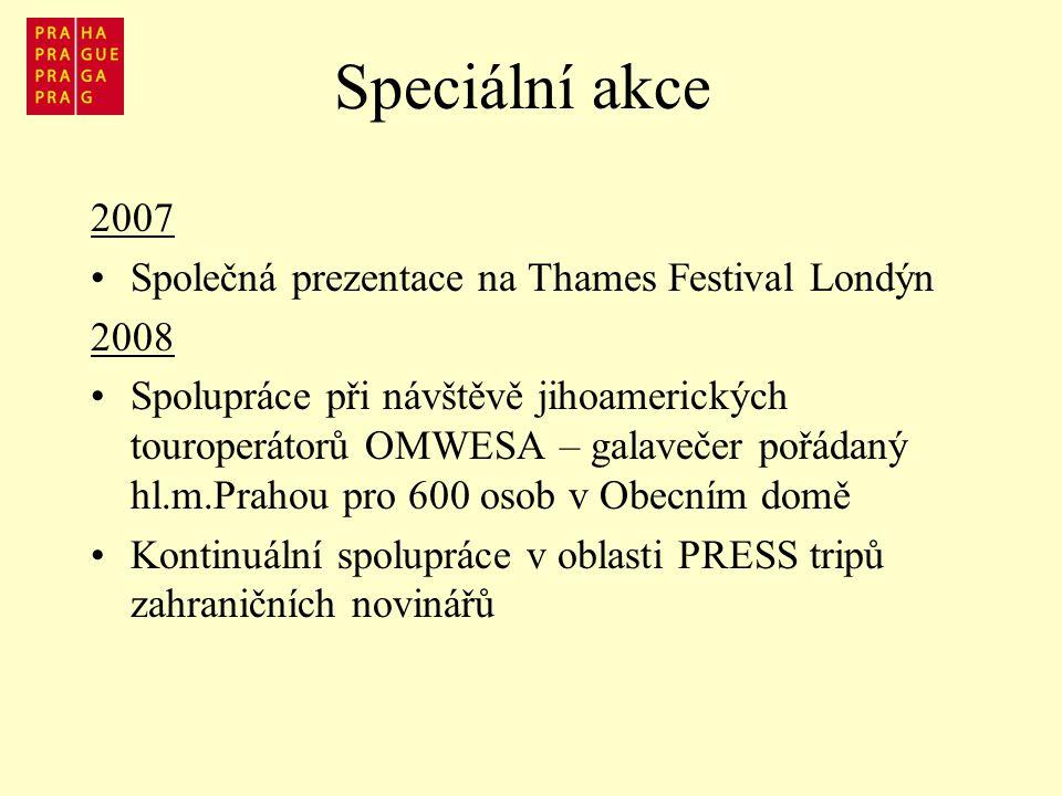 Speciální akce 2007 Společná prezentace na Thames Festival Londýn 2008 Spolupráce při návštěvě jihoamerických touroperátorů OMWESA – galavečer pořádaný hl.m.Prahou pro 600 osob v Obecním domě Kontinuální spolupráce v oblasti PRESS tripů zahraničních novinářů