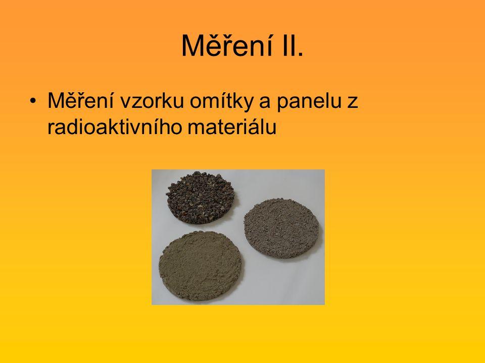 Měření II. Měření vzorku omítky a panelu z radioaktivního materiálu