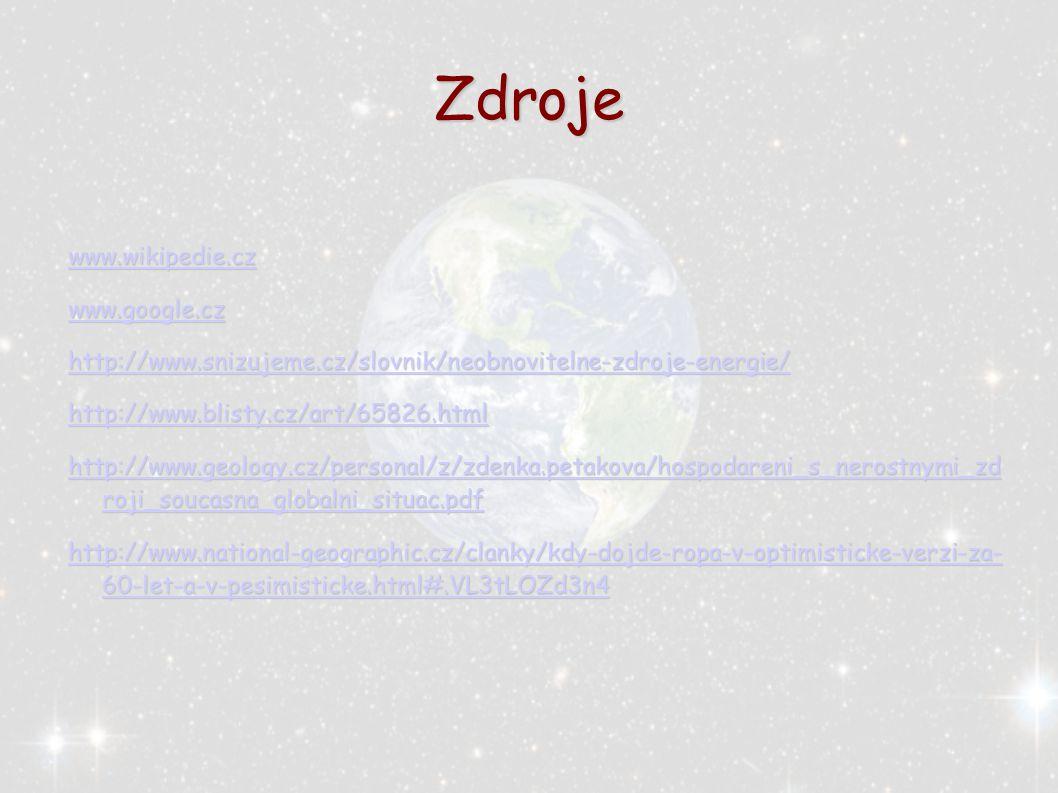 Zdroje www.wikipedie.cz www.google.cz http://www.snizujeme.cz/slovnik/neobnovitelne-zdroje-energie/ http://www.blisty.cz/art/65826.html http://www.geo