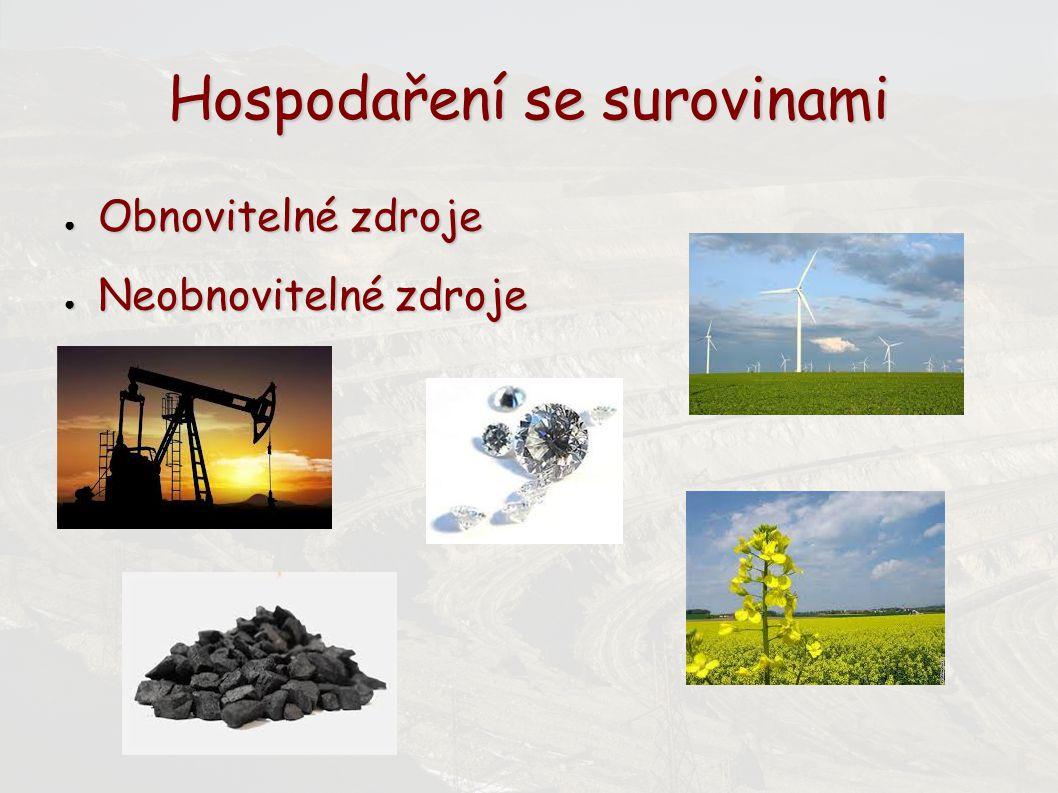 Hospodaření se surovinami ● Obnovitelné zdroje ● Neobnovitelné zdroje