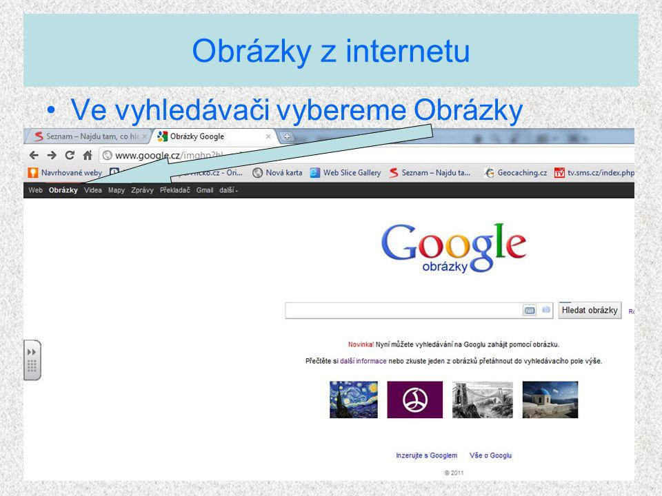 Vyhledávání obrázků z internetu Google nám umožňuje Rozšířené vyhledávání obrázků záleží na každém, co si vybere (zaklikne)