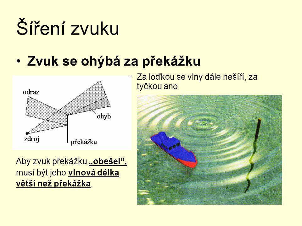 """Šíření zvuku Zvuk se ohýbá za překážku Za loďkou se vlny dále nešíří, za tyčkou ano Aby zvuk překážku """"obešel , musí být jeho vlnová délka větší než překážka."""
