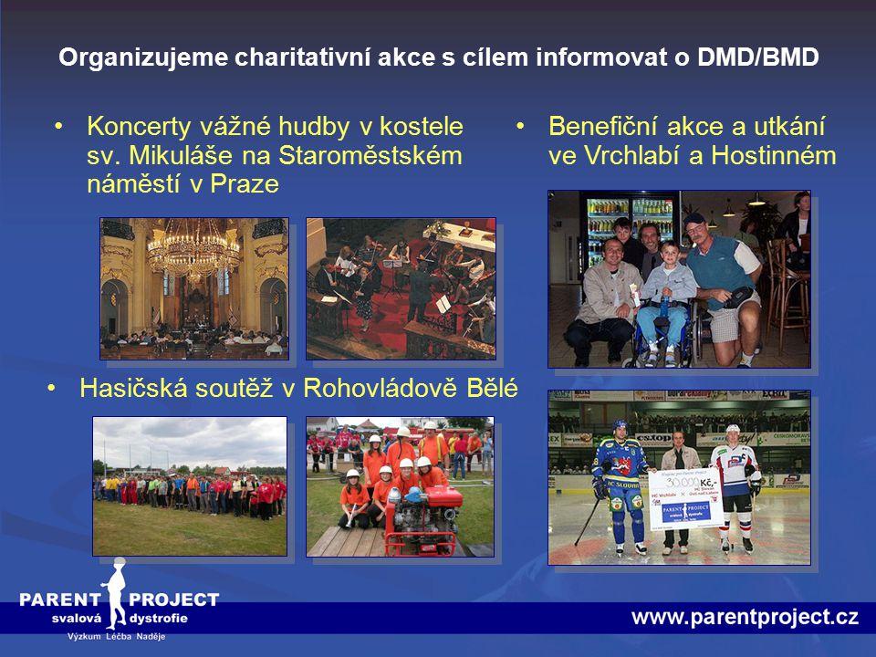 Organizujeme charitativní akce s cílem informovat o DMD/BMD Koncerty vážné hudby v kostele sv. Mikuláše na Staroměstském náměstí v Praze Hasičská sout