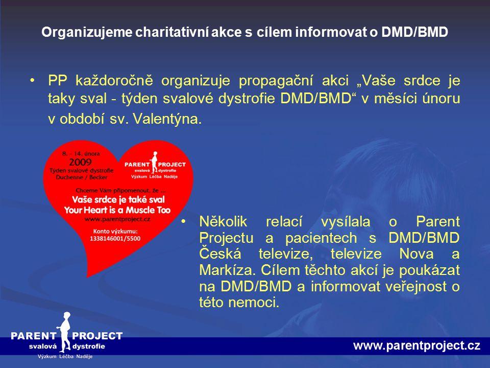 """Organizujeme charitativní akce s cílem informovat o DMD/BMD PP každoročně organizuje propagační akci """"Vaše srdce je taky sval - týden svalové dystrofi"""