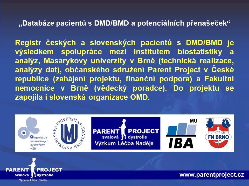 """""""Databáze pacientů s DMD/BMD a potenciálních přenašeček"""" Registr českých a slovenských pacientů s DMD/BMD je výsledkem spolupráce mezi Institutem bios"""