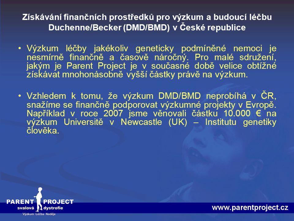 Získávání finančních prostředků pro výzkum a budoucí léčbu Duchenne/Becker (DMD/BMD) v České republice Hlavní část finančních zdrojů je v současné době vkládána do Projektu databáze pacientů DMD/BMD, která je pro nás prvním předpokladem pro možnou budoucí léčbu našich pacientů a jejich účasti v klinických testech.