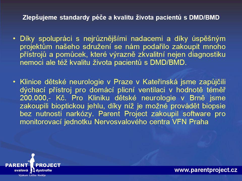 Zlepšujeme standardy péče a kvalitu života pacientů s DMD/BMD Naše sdružení zakoupilo velké množství materiálu pro Centrum molekulární biologie a genové terapie v Brně, který umožňuje provádět na špičkové úrovni molekulárně genetické testy, přesně identifikující genové mutace způsobující Duchennovu svalovou dystrofii.