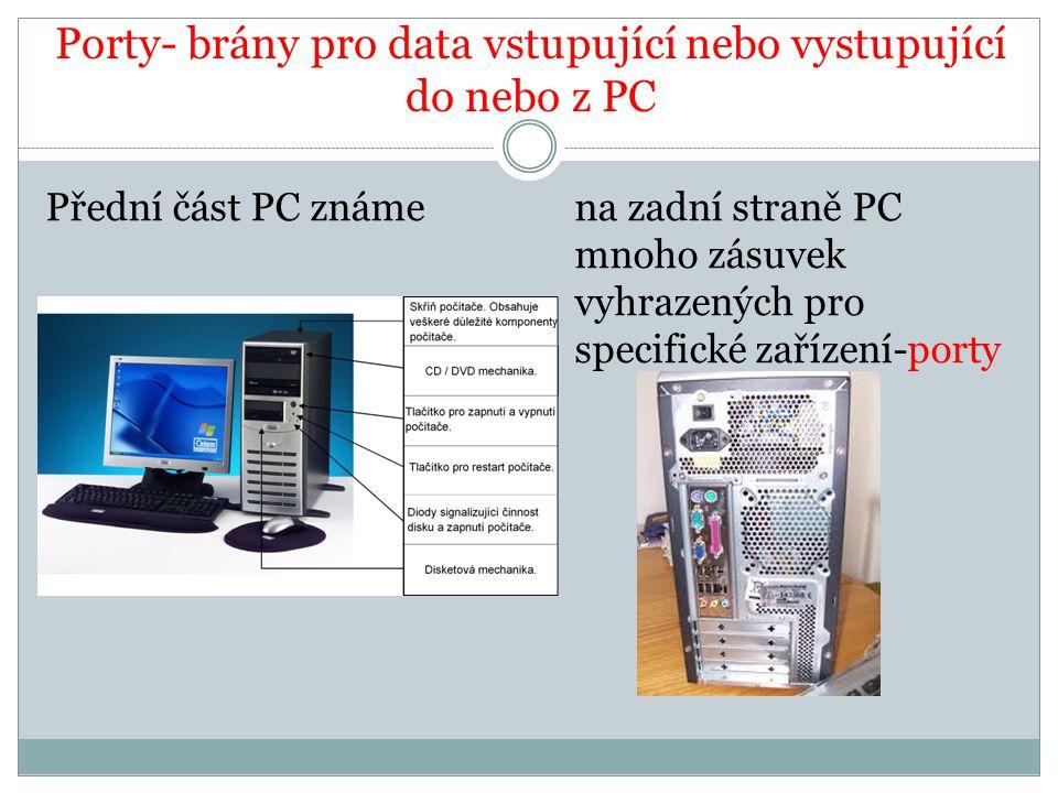 Porty- brány pro data vstupující nebo vystupující do nebo z PC Přední část PC známena zadní straně PC mnoho zásuvek vyhrazených pro specifické zařízen