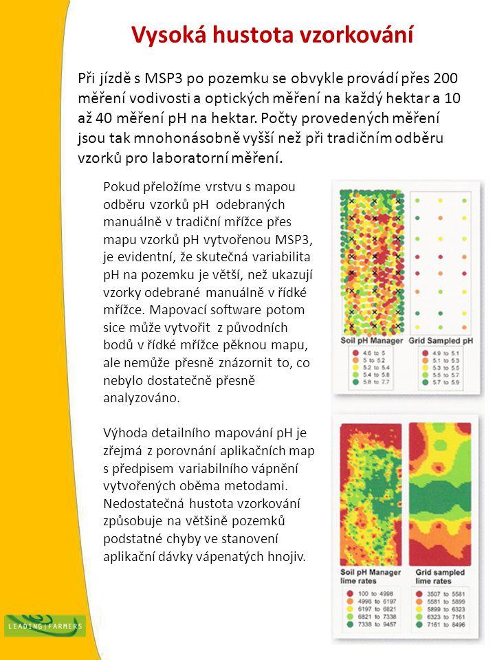 Vysoká hustota vzorkování Při jízdě s MSP3 po pozemku se obvykle provádí přes 200 měření vodivosti a optických měření na každý hektar a 10 až 40 měření pH na hektar.