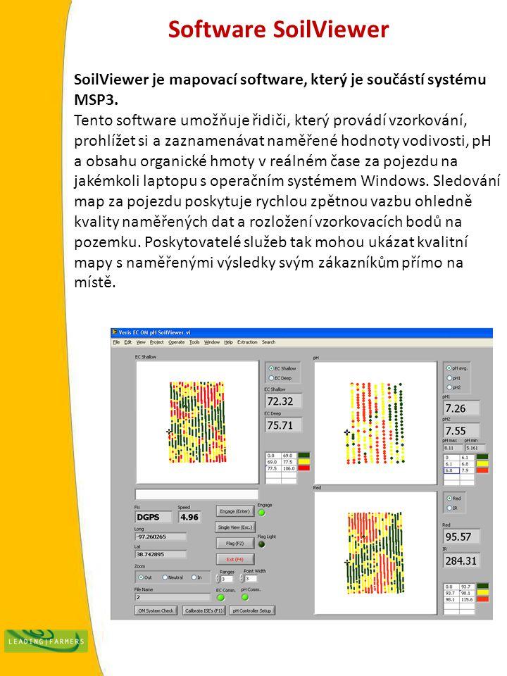 Software SoilViewer SoilViewer je mapovací software, který je součástí systému MSP3. Tento software umožňuje řidiči, který provádí vzorkování, prohlíž