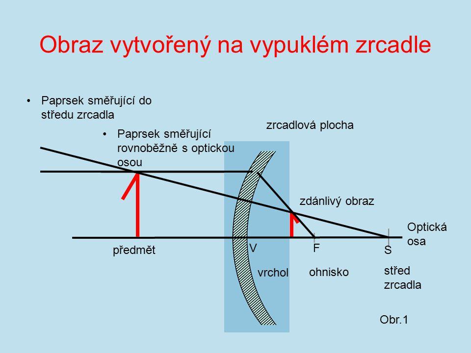 Obraz vytvořený na vypuklém zrcadle zrcadlová plocha předmět zdánlivý obraz F S ohnisko střed zrcadla Optická osa Obr.1 Paprsek směřující rovnoběžně s optickou osou Paprsek směřující do středu zrcadla V vrchol