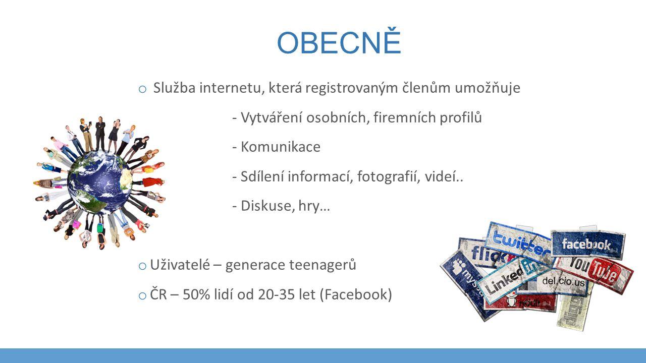 OBECNĚ o Služba internetu, která registrovaným členům umožňuje - Vytváření osobních, firemních profilů - Komunikace - Sdílení informací, fotografií, v