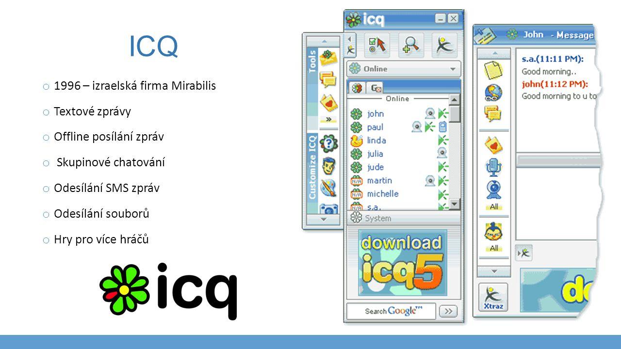 ICQ o 1996 – izraelská firma Mirabilis o Textové zprávy o Offline posílání zpráv o Skupinové chatování o Odesílání SMS zpráv o Odesílání souborů o Hry