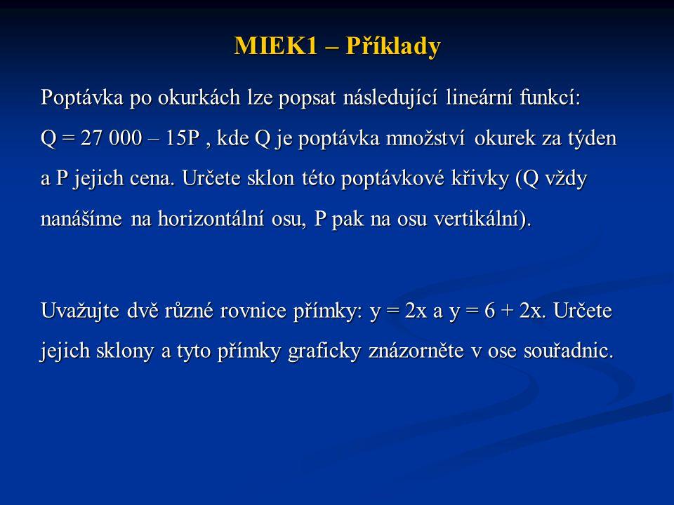 MIEK1 – Příklady Poptávka po okurkách lze popsat následující lineární funkcí: Q = 27 000 – 15P, kde Q je poptávka množství okurek za týden a P jejich