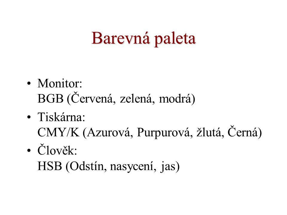 Barevná paleta Monitor: BGB (Červená, zelená, modrá) Tiskárna: CMY/K (Azurová, Purpurová, žlutá, Černá) Člověk: HSB (Odstín, nasycení, jas)
