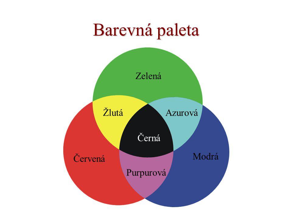 Barevná paleta Zelená Červená ŽlutáAzurová Modrá Černá Purpurová