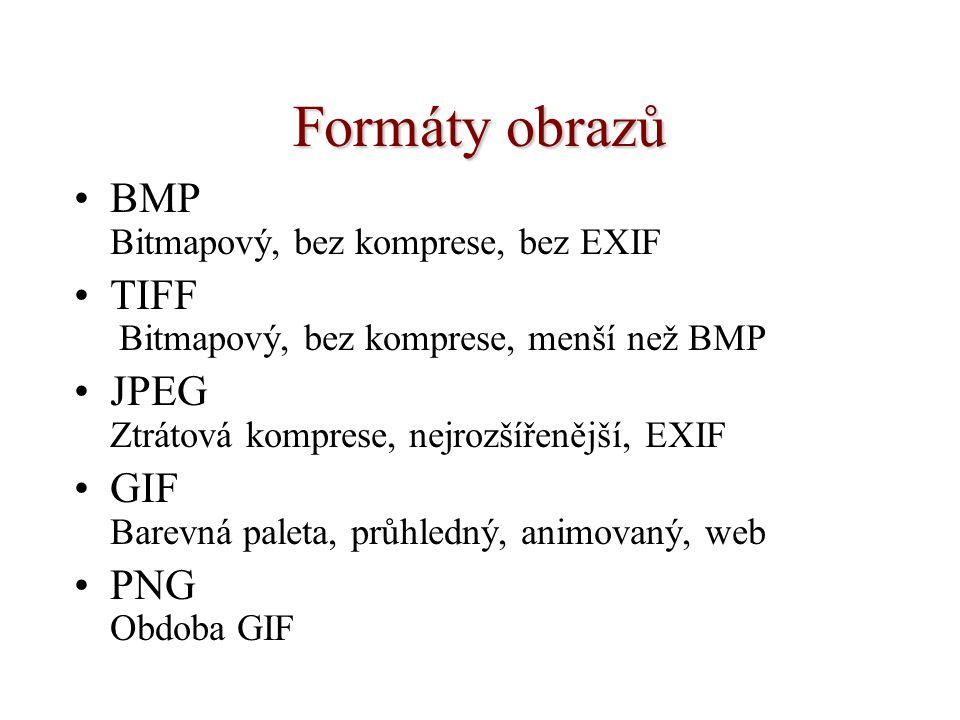 Formáty obrazů BMP Bitmapový, bez komprese, bez EXIF TIFF Bitmapový, bez komprese, menší než BMP JPEG Ztrátová komprese, nejrozšířenější, EXIF GIF Barevná paleta, průhledný, animovaný, web PNG Obdoba GIF