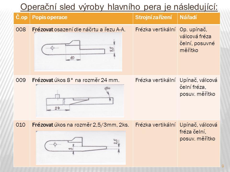 9 Operační sled výroby hlavního pera je následující: Č.opPopis operaceStrojní zařízeníNářadí 008Frézovat osazení dle náčrtu a řezu A-A.Frézka vertikálníOp.
