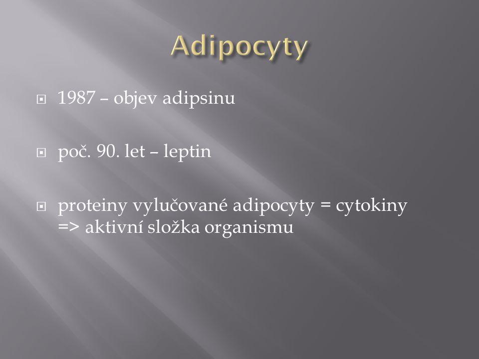  1987 – objev adipsinu  poč. 90. let – leptin  proteiny vylučované adipocyty = cytokiny => aktivní složka organismu