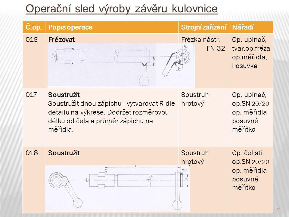 11 Operační sled výroby závěru kulovnice Č.op.Popis operaceStrojní zařízeníNářadí 016FrézovatFrézka nástr. FN 32 Op. upínač, tvar.op.fréza op.měřidla,