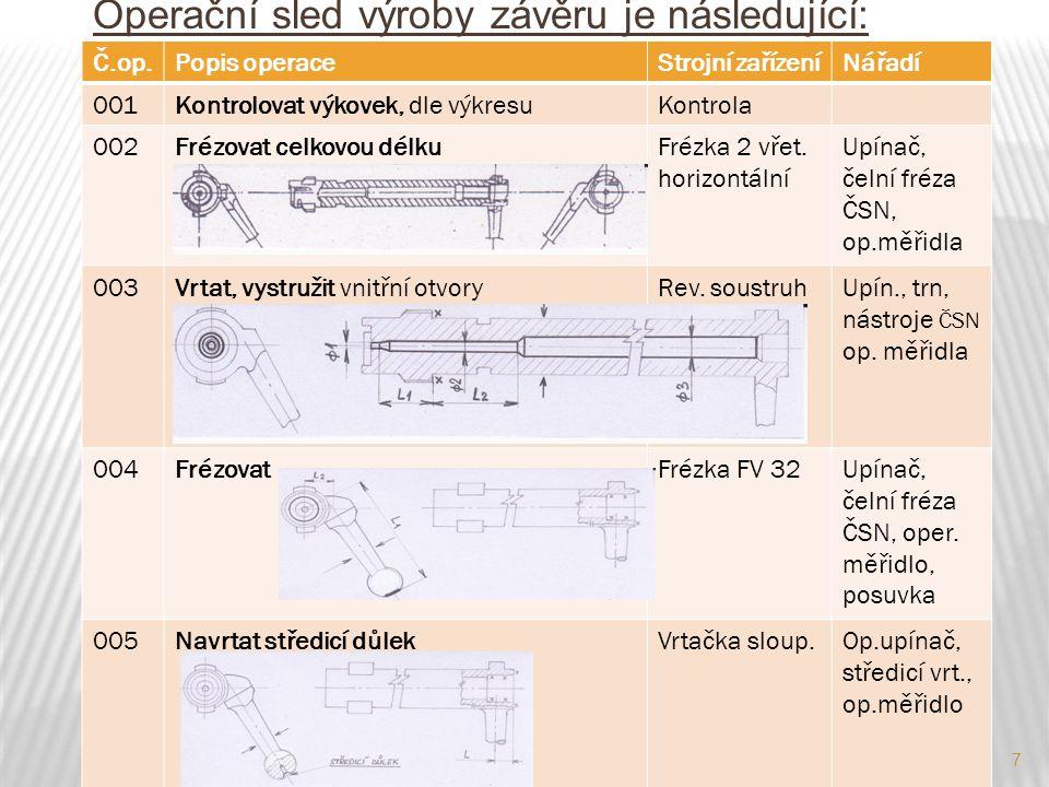8 Operační sled výroby závěru kulovnice Č.op.Popis operaceStrojní zařízeníNářadí 006Soustružit, I.nahrubo, II.načisto, (3 úběry)Soustruh SV18 Op.