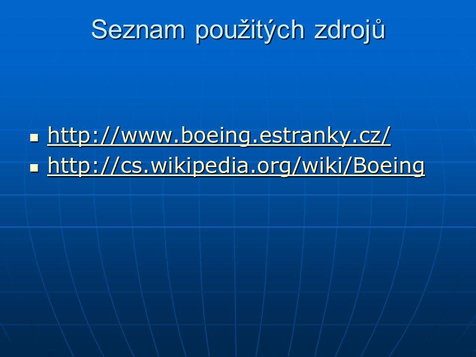 Seznam použitých zdrojů http://www.boeing.estranky.cz/ http://www.boeing.estranky.cz/ http://www.boeing.estranky.cz/ http://cs.wikipedia.org/wiki/Boeing http://cs.wikipedia.org/wiki/Boeing http://cs.wikipedia.org/wiki/Boeing