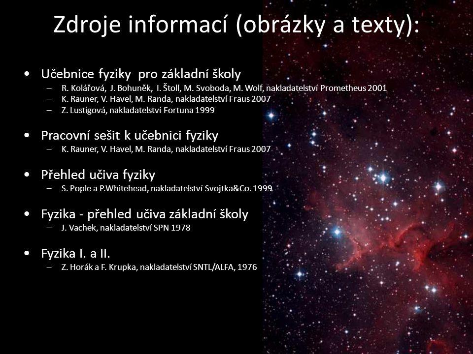 Zdroje informací (obrázky a texty): Učebnice fyziky pro základní školy –R. Kolářová, J. Bohuněk, I. Štoll, M. Svoboda, M. Wolf, nakladatelství Prometh