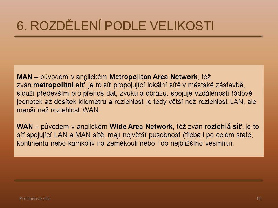 MAN – původem v anglickém Metropolitan Area Network, též zván metropolitní síť, je to síť propojující lokální sítě v městské zástavbě, slouží předevší