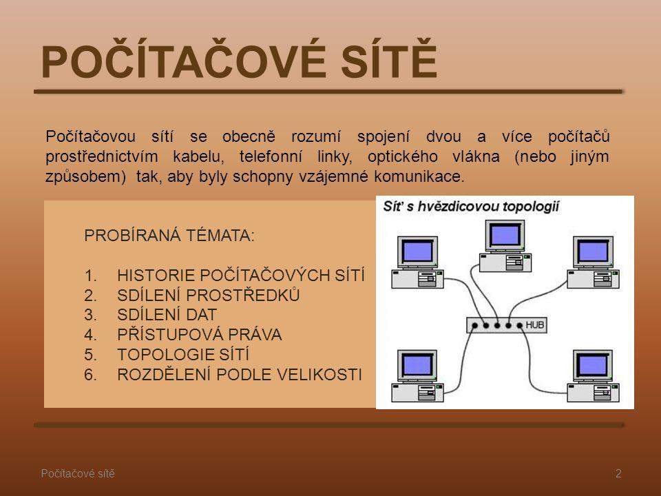 2Počítačové sítě POČÍTAČOVÉ SÍTĚ PROBÍRANÁ TÉMATA: 1.HISTORIE POČÍTAČOVÝCH SÍTÍ 2.SDÍLENÍ PROSTŘEDKŮ 3.SDÍLENÍ DAT 4.PŘÍSTUPOVÁ PRÁVA 5.TOPOLOGIE SÍTÍ