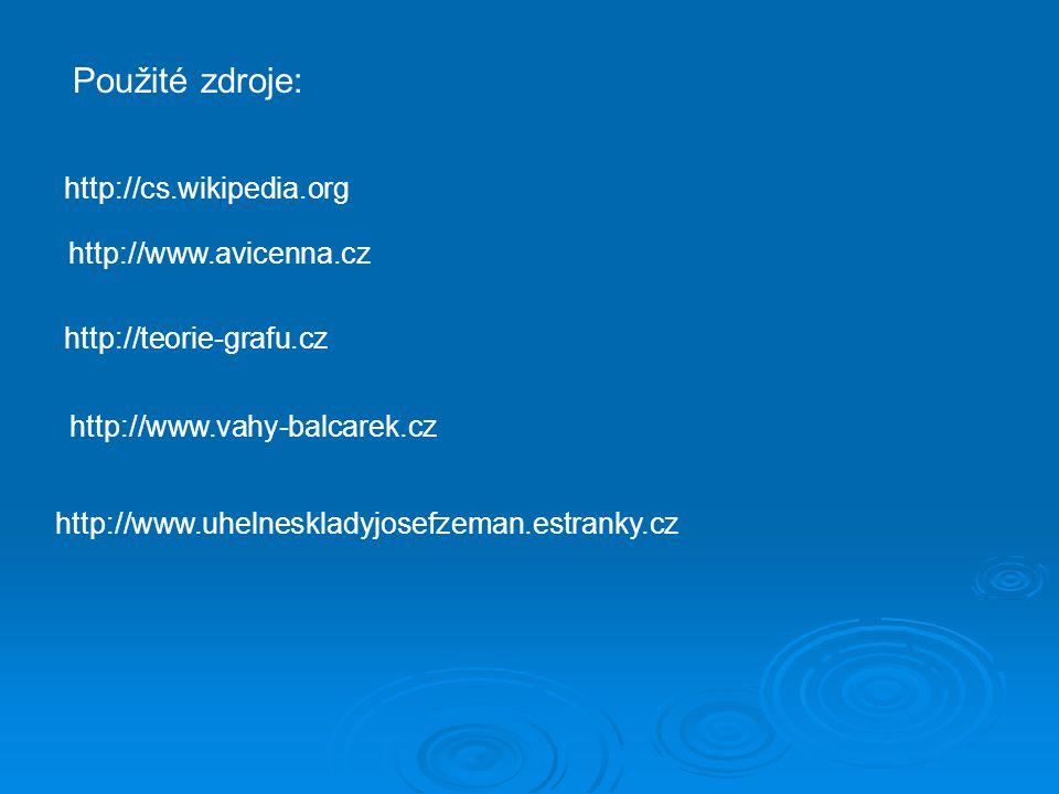 http://www.avicenna.cz http://teorie-grafu.cz http://cs.wikipedia.org http://www.vahy-balcarek.cz http://www.uhelneskladyjosefzeman.estranky.cz Použit