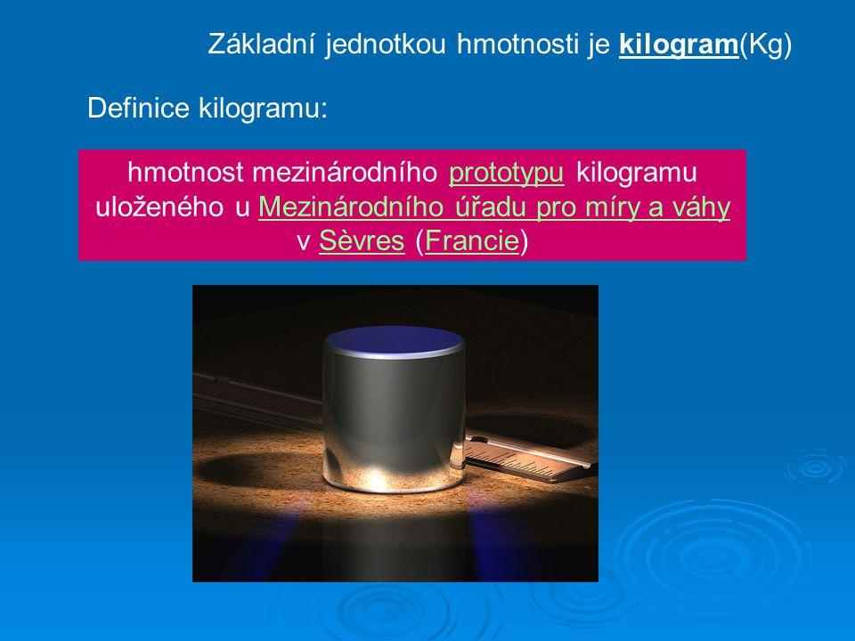 Základní jednotkou hmotnosti je kilogram(Kg) Definice kilogramu: hmotnost mezinárodního prototypu kilogramu uloženého u Mezinárodního úřadu pro míry a