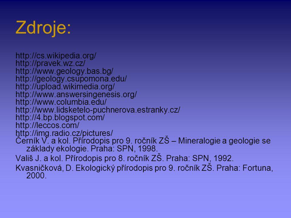 Zdroje: http://cs.wikipedia.org/ http://pravek.wz.cz/ http://www.geology.bas.bg/ http://geology.csupomona.edu/ http://upload.wikimedia.org/ http://www