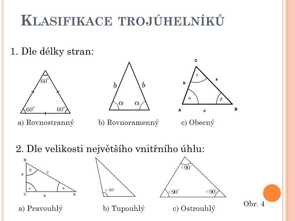K LASIFIKACE TROJÚHELNÍKŮ 1.Dle délky stran: a) Rovnostranný b) Rovnoramenný c) Obecný 2. Dle velikosti největšího vnitřního úhlu: a) Pravouhlý b) Tup