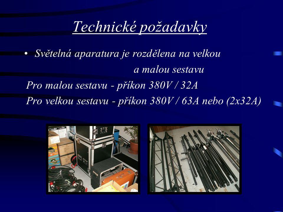 Technické požadavky Světelná aparatura je rozdělena na velkou a malou sestavu Pro malou sestavu - příkon 380V / 32A Pro velkou sestavu - příkon 380V / 63A nebo (2x32A)