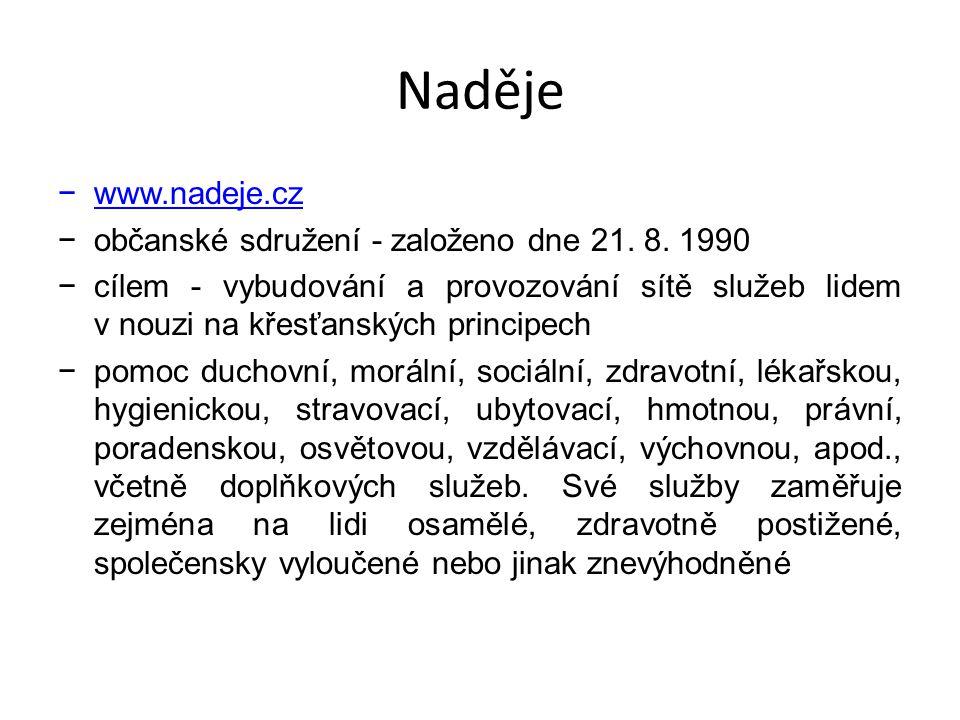Naděje −www.nadeje.cz −občanské sdružení - založeno dne 21. 8. 1990 −cílem - vybudování a provozování sítě služeb lidem v nouzi na křesťanských princi
