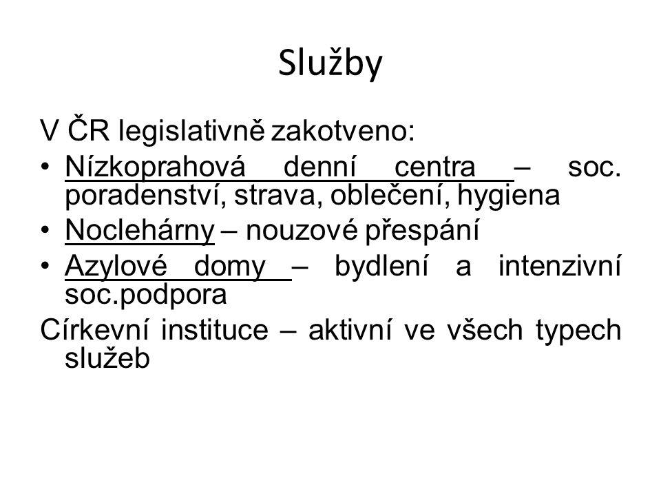 Služby V ČR legislativně zakotveno: Nízkoprahová denní centra – soc. poradenství, strava, oblečení, hygiena Noclehárny – nouzové přespání Azylové domy