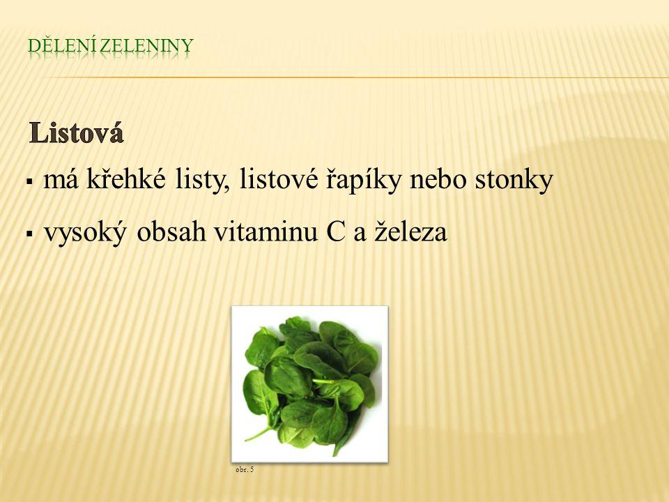  má křehké listy, listové řapíky nebo stonky  vysoký obsah vitaminu C a železa obr. 5
