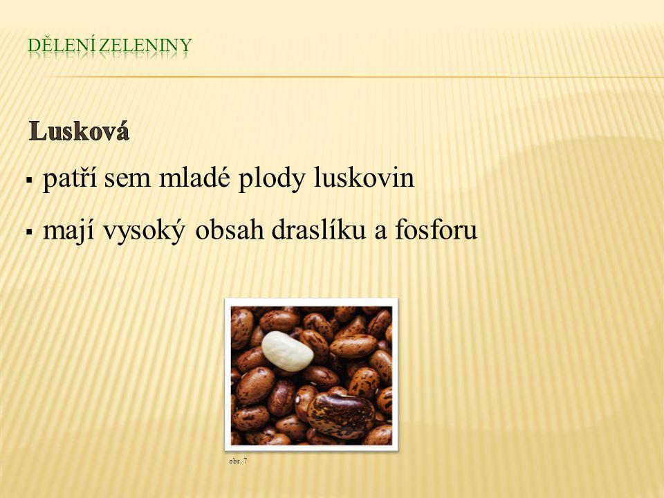  patří sem mladé plody luskovin  mají vysoký obsah draslíku a fosforu obr. 7