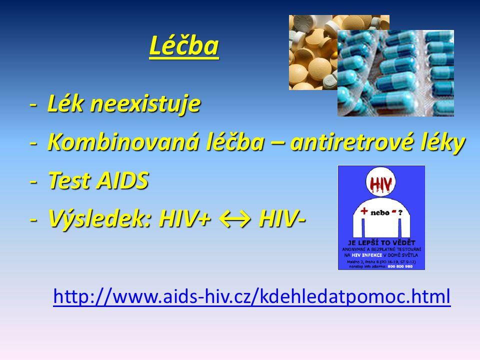 Léčba Léčba -Lék neexistuje -Kombinovaná léčba – antiretrové léky -Test AIDS -Výsledek: HIV+ ↔ HIV- http://www.aids-hiv.cz/kdehledatpomoc.html