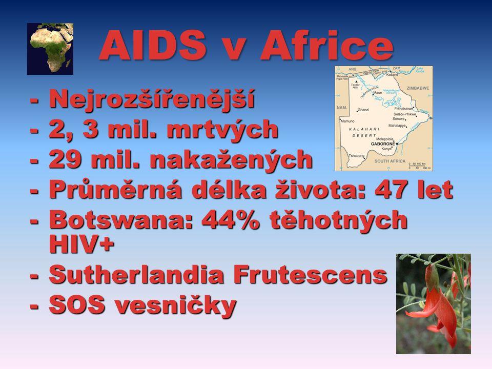 AIDS v Africe -Nejrozšířenější -2, 3 mil.mrtvých -29 mil.