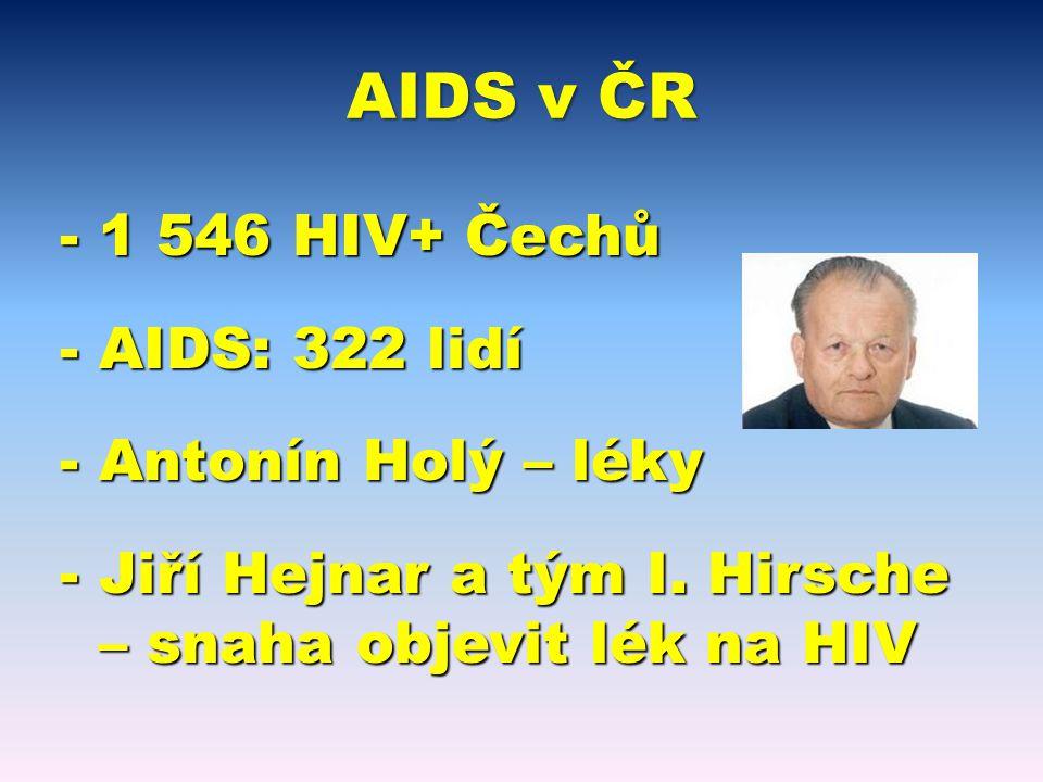 AIDS v ČR -1 546 HIV+ Čechů -AIDS: 322 lidí -Antonín Holý – léky -Jiří Hejnar a tým I.