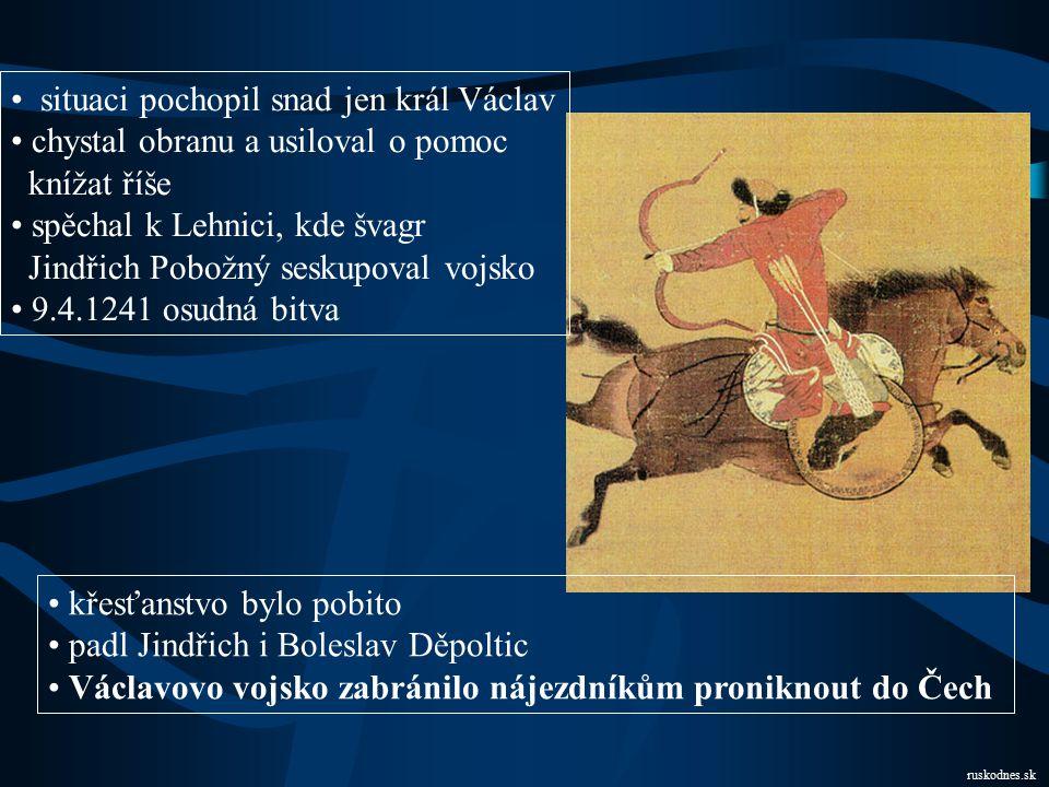 Vpád Mongolů  Evropa rozkolísaná neustálým přeskupováním sil  do jádra Evropy zatím postupovali rychlými pochody na malých hbitých koních Mongolové Mongolové po sobě zanechávali hromady mrtvých a trosky měst 1240 dobyli Kyjev, zaplavili ruské roviny pronikli až do Uher, plenili v Polsku nebyla síla, která by nejednotnou Evropu spojila selhalo papežství i říše Džingischán Sjednotitel Mongolů trpitele.blog.cz