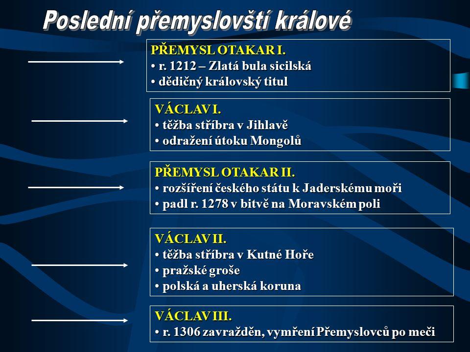 OBSAH: 1)Poslední přemyslovští králové 2)Český stát – součást Svaté říše římské 3)Konec 12.