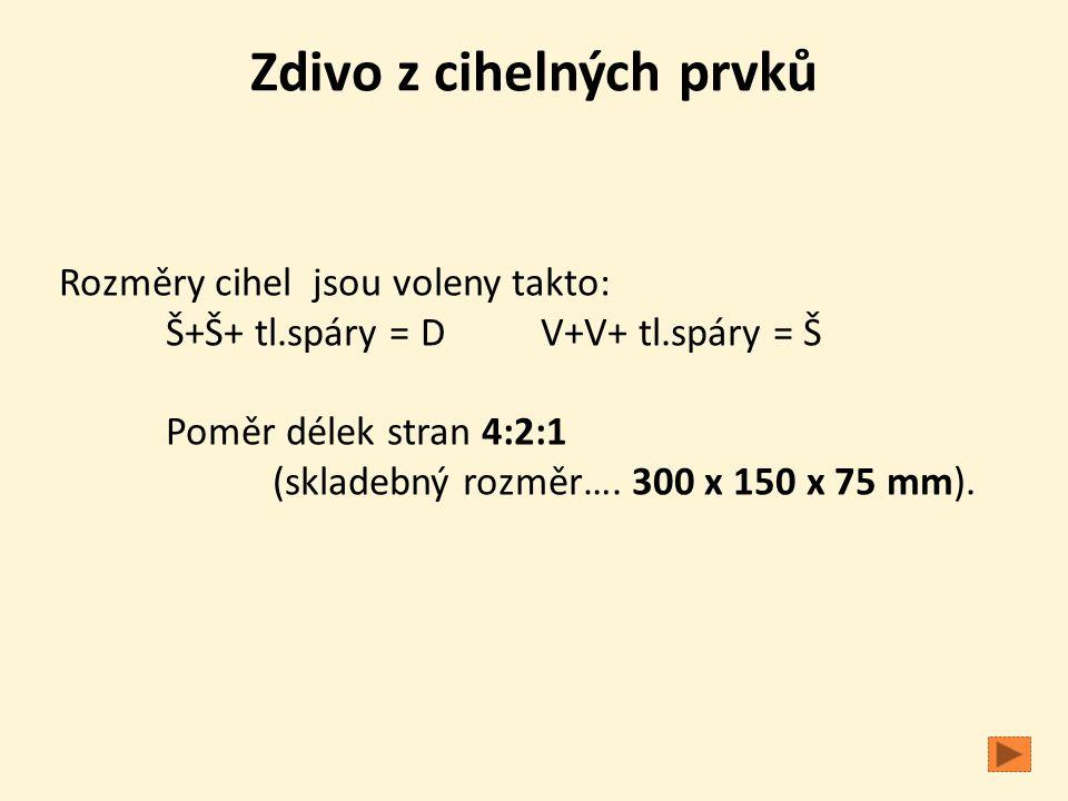 Zdivo z cihelných prvků Rozměry cihel jsou voleny takto: Š+Š+ tl.spáry = D V+V+ tl.spáry = Š Poměr délek stran 4:2:1 (skladebný rozměr…. 300 x 150 x 7