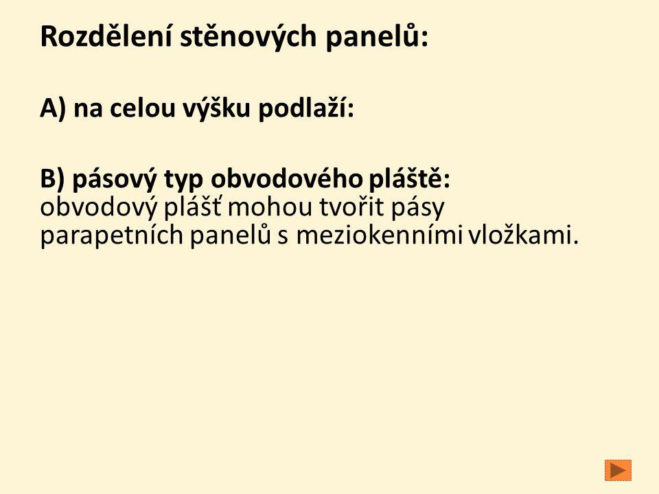 Rozdělení stěnových panelů: A) na celou výšku podlaží: B) pásový typ obvodového pláště: obvodový plášť mohou tvořit pásy parapetních panelů s mezioken