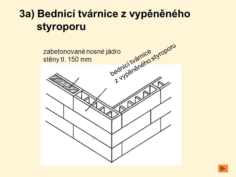 bednicí tvárnice z vypěněného styroporu zabetonované nosné jádro stěny tl. 150 mm 3a) Bednicí tvárnice z vypěněného styroporu