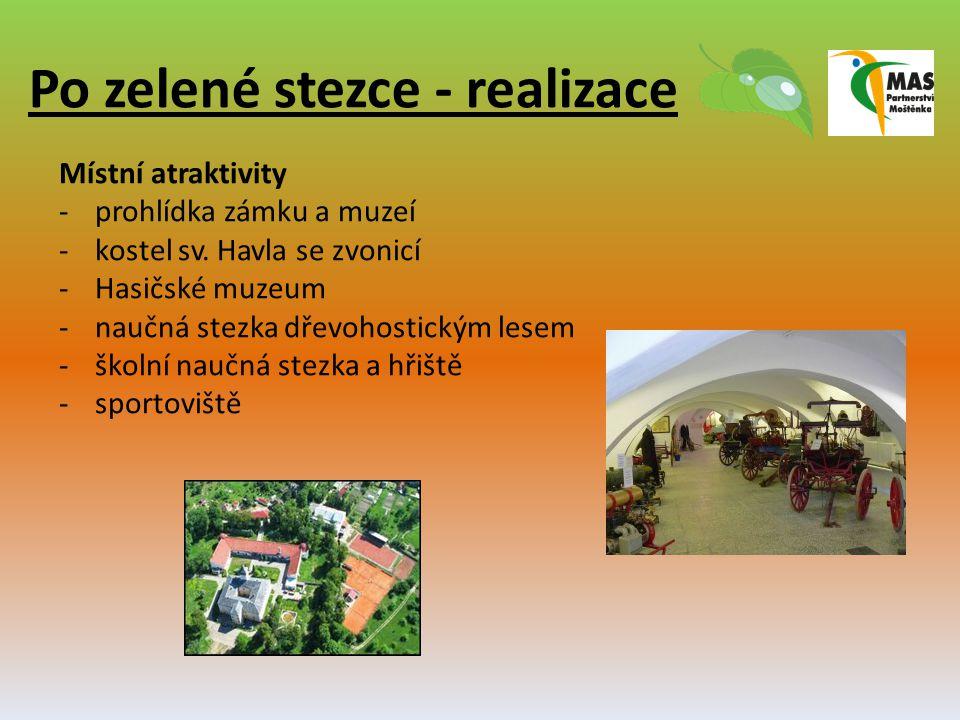 Po zelené stezce - realizace Místní atraktivity -prohlídka zámku a muzeí -kostel sv. Havla se zvonicí -Hasičské muzeum -naučná stezka dřevohostickým l